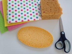 Material für Törtchen aus Spülschwämmen
